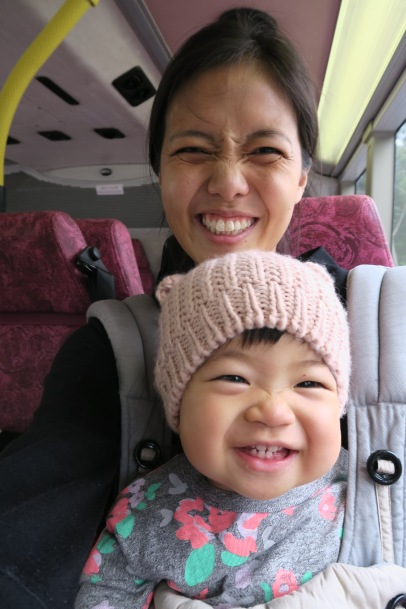 Olive's first bus ride with Mama.