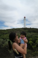 Goofing around in front of Split Point Lighthouse.